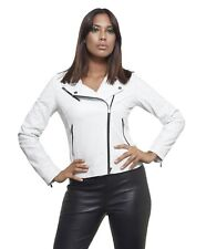 Giacca in pelle donna KBC • colore bianco • giacca in pelle biker nappa effetto