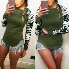 Taglie Comode Donne Camouflage Manica Lunga Casual T-Shirt Maglia S-3XL