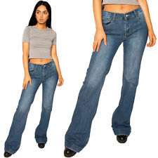 New Womens Ladies Blue Mid Rise Faded Wide Flared Jeans Denim Bellbottom Flares