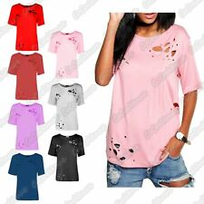 New Ladies Distressed Ripped Hole Laser Cut Out Short Sleeve Basic T-Shirt Top