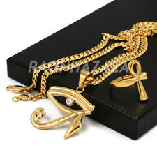 Stainless Steel Gold Egyptian Eye of Horus Pendant W Cuban Chain / Ankh Ring