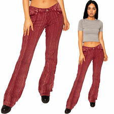 New Womens Low Rise Hipster Red & Pink Stripe Bootcut Jeans Retro Flared Pants
