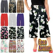 Ladies Floral Print Flared Wide Leg Culottes 3/4 Length Palazzo Summer Trouser
