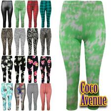New Ladies Printed Running Gym Bottoms 3/4 Crop Leggings Trousers Jogging Pants