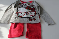 Velours Enfants Vêtements de Nuit Lot Pyjamas Fille Hello Kitty Gris Rose 104 -