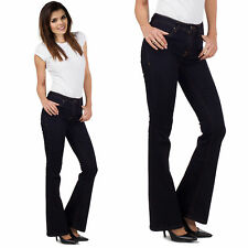 New Ladies Womens Dark Wash Bootcut Flared Jeans Indigo Stretch Denim Flares