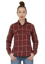 New Ladies Womens Red Tartan Check Plaid Long Sleeve Loose Shirt Blouse