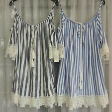 LADIES NEW ITALIAN LAGENLOOK LACE COTTON STRIPES COLD SHOULDER TUNIC TOP