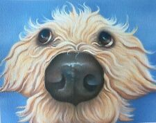 golden labradoodle painting fine art giclee print