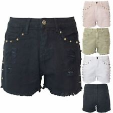 Ladies Womens Faded Pockets Raw Edges Ripped Hot Pants Studded Denim Rip Shorts