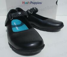 Hush Puppies LAVISA Girls Kids Leather Touch Close Mary Jane School Shoes Black