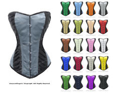 26 Double Steel Boned Strong Waist Training SATIN OVERBUST Tight Shaper Corset