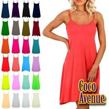 New Ladies Plain Cami Strappy Flared Swing Dress Camisole Summer Vest Tank Top