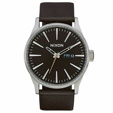 Nixon Sentry Leather Mens Watch - Dark Cedar Brown One Size