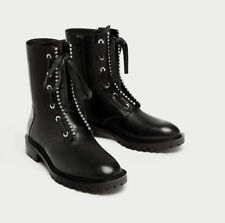 ZARA NEW LEATHER ANKLE BOOTS WITH METALLIC DETAIL 5151/201 EU39 BOTINES BOLITAS