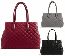 WOMENS FAUX LEATHER QUILTED TWIN HANDLE TOTE BUCKET LARGE LADIES SHOULDER BAG