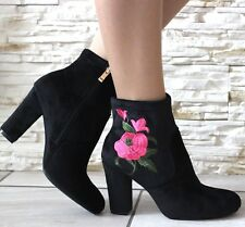 WOMENS LADIES BLACK VELVET PINK ROSE ANKLE BOOTS BLOCK HIGH HEELS SHOES SIZE