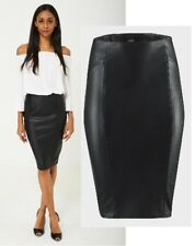 New Ladies Black Faux Leather Black Midi Pencil Skirt Size 6 , 8 , 10