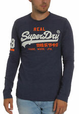 Superdry Men's Long Sleeve Vintage Logo Duo L/S TEE Princedom Blue Marl Blue