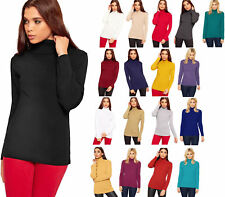 Womens Knitted Polo Jumper Ladies Long Sleeve Ribbed High Roll Neck Top 8-18
