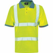 Hombre Dickies Alta Visibilidad Impermeable Motorway Highway Polo Top Corto