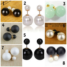 Pendientes doble perlas Earrings double pearls Doubles boucles d'oreilles perles