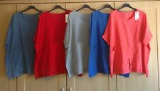 PLUS SIZE Ladies Italian Oversized Lagenlook Layering Batwing COTTON BOXY Top 62