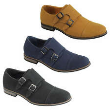 Mens Suede Leather Monk Shoes Double Strap Smart Classic Retro Casual Slip on