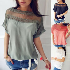 Moda Donna Estate Larga Manica Corta Casual Pizzo T Shirt Top Camicetta