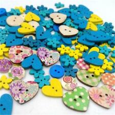 Wooden Buttons Heart Flowers Style Decorative Sewing Embellishment Craft Decors