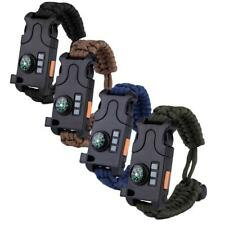 Outdoor Paracord Survival Bracelet Wristband Compass LED Fire Starter Whistle