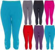 Ladies Butterfly Embellished Diamante Sequin 3/4 Legging Womens Stretch Pants