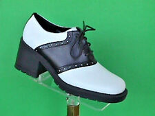 High heeled BLACK and White Saddle Shoes leather 70's style wms sizes (#500)