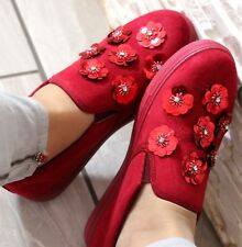 NEW LADIES RED SLIP ON FLAT PLIMSOLLS SNEAKERS SKATER TRAINERS PUMP SHOE SIZE