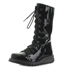 Womens Fly London Ster Atlantis Black Patent Lace Up Leather Boots UK Size