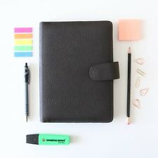 A5 Collins Black Brown Organiser Notebook Personal Filofax Leather Grain Popper