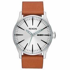 Nixon Sentry Leather Mens Watch - Silver Tan One Size