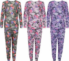 New Womens Floral Print Co-Ord Set Top Ladies Bottoms Loungewear Twin Suit