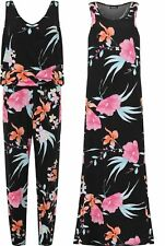 New Womens Sleeveless Jumpsuit Trousers Scoop Neck Floral Print Leg Maxi Dress