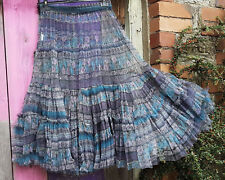 BOHEMIA  SOFT TEAL PURPLE GREY FLORAL LONG TIERED FULL NET UNDER SKIRT S-XL BNWT