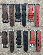 For Apple Watch 1/2/3 38/42mm Thick Grain Calf Leather Watch Strap Bracelet Band