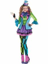 Sassy Mad Hatter Alice Wonderland Book Week Halloween Fancy Dress Costume Outfit