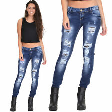 New Womens Ladies Blue Distressed Ripped Bleach Faded Skinny Slim Stretch Jeans