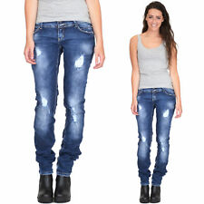 New Womens Ladies Blue Ripped Distressed Bleach Faded Skinny Slim Stretch Jeans