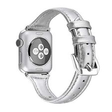 38mm Narrow Apple Watch Band for Women Thin Leather Strap Series 3 2 1 Silver HQ