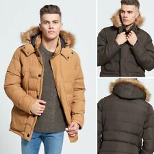 NEW MENS DESIGNER BRAVE SOUL PADDED FUR HOODED PUFFA JACKET WINTER PUFFER COAT