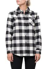 New Ladies Womens White Black Check Lumberjack Western Style Shirt Loose Blouse