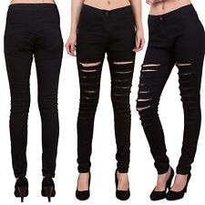 WOMENS HIGH WAISTED SKINNY JEANS RIPPED LADIES JEGGINGS KNEE SIZES 6 - 18
