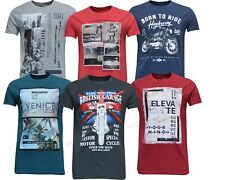 New Mens 100% Cotton Graphic Print Vintage Crew Neck T-Shirts Top Casual Summer