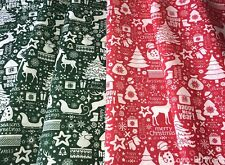 MERRY CHRISTMAS REINDEER FABRIC RED OR GREEN POLYCOTTON 112cm WIDE/METRE